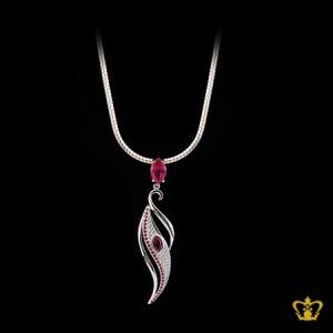 Classy-silver-leaf-pendant-inlaid-with-pink-crystal-charming-designer-jewelry-gift-for-her