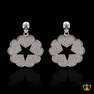 Glittering-designer-heart-star-earring-inlaid-with-crystal-diamonds-lovely-gift-for-her