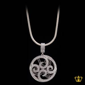 Classy-designer-silver-pendant-inlaid-with-crystal-diamond-opulent-gift-for-her