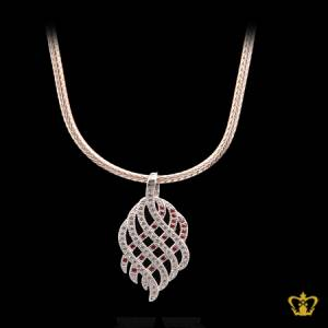 Alluring-leaf-drop-pendant-with-sparkling-crystal-diamonds-elegant-gift-for-her