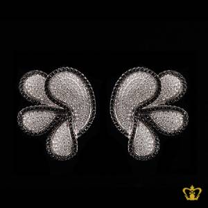 Stylish-chic-flower-earring-embellished-with-sparkling-black-and-clear-crystal-diamonds-gorgeous-gift-for-her
