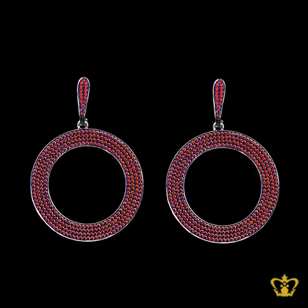 Designer-round-sterling-silver-earring-embellished-with-red-crystal-diamond-lovely-gift-for-her