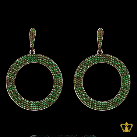 Exquisite-sterling-silver-round-dangling-earring-embellished-with-green-crystal-diamond-special-occasions-gift-for-her