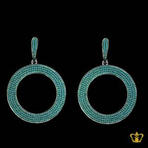 Glisten-round-dangling-earring-embellished-with-aqua-green-crystal-diamonds-stylish-gift-for-her