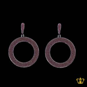 Chic-timeless-designer-round-earring-embellished-with-brown-crystal-diamond-lovely-gift-for-her