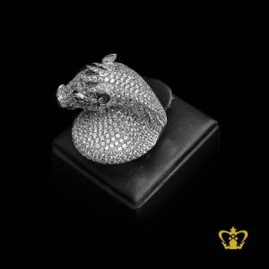 Classy-vintage-style-embellished-horse-figure-ring-with-crystal-diamonds-sterling-silver-opulent-gift-for-her