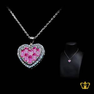 Heart-shape-chain-silver-for-her-occasions-celebrations-gift-birthday-pendant-pink-silver-crystal-stone-valentines-day