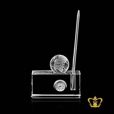 Personalized-Crystal-Pen-Holder-with-Clock-and-Glob-for-desk-desktop-customized-with-your-name-designation-logo