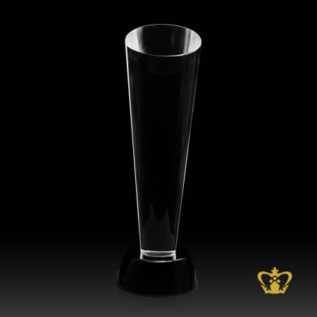 Cone-Trophy-Crystal-with-Black-Base-Customized-Logo-Text-