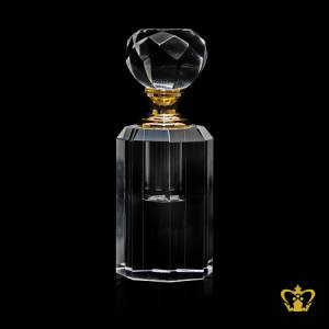 Antique-style-crystal-perfume-bottle-with-luxurious-golden-collar-handcrafted-diamond-cuts-classy-gift-souvenir