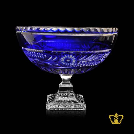 Voguish-modest-blue-crystal-elegant-footed-bowl-exceptional-frosted-floral-pattern-handcrafted-gorgeous-decorative-gift