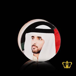 His-Highness-Sheikh-Hamdan-bin-Mohammed-bin-Rashid-Al-Maktoum-Crown-Prince-of-Dubai-Color-portrait-printed-crystal-circle-UAE-National-day-gift-corporate-souvenir