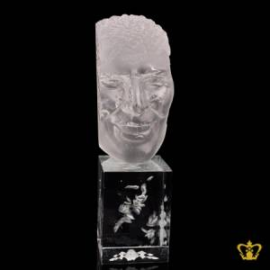 A-Masterpiece-Crystal-Replica-of-a-Visage-stands-on-a-Clear-Crystal-Cube-Custom-Engrave