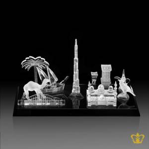 UAE-s-Famous-Landmark-and-Replica-s-of-Burj-Khalifa-Camel-Dhow-Bukhor-Mosque-etc-handcrafted-in-Crystal-with-Black-Base