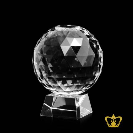 Handcrafted-Crystal-Diamond-Cut-Ball-With-Stand-On-Clear-Base-Customized-Text-Logo