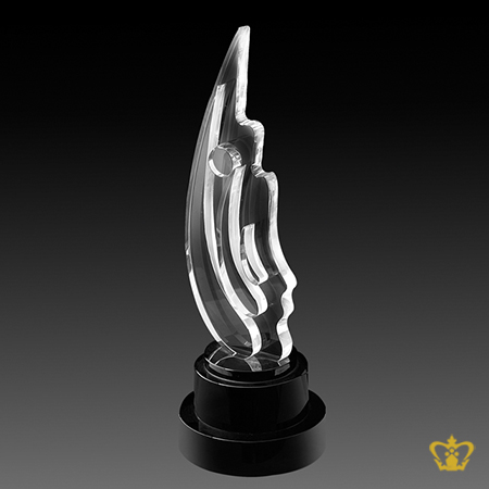 Handcrafted-Leaf-Trophy-Crystal-Black-Round-Base-Customized-Logo-Text-