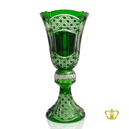 Regal-majestic-long-footed-green-crystal-vase-with-intense-timeless-diamond-pattern-hand-carved