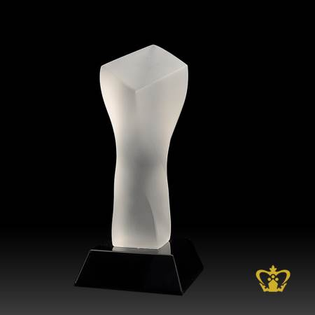 Twist-Trophy-Frosted-Crystal-with-Black-Base-Customized-Logo-Text-
