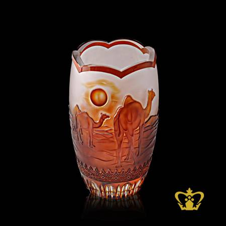 Crystal-decorative-amber-vase-with-camel-engraved-UAE-traditional-souvenir-gift