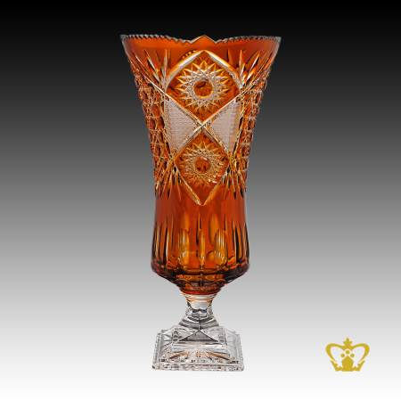 Gorgeous-long-footed-crystal-amber-vase-handcrafted-with-intense-traditional-diamond-and-leaf-cuts-pattern