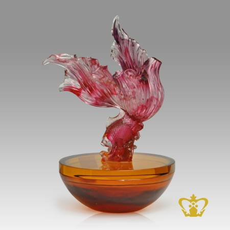 Artistry-Crystal-Replica-of-a-Fish-stands-on-a-Bowl-with-smooth-intricate-detailing