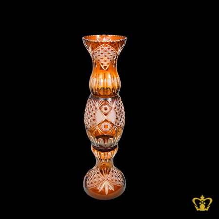 Dazzling-majestic-grand-elegant-3-tier-handcrafted-luxurious-amber-crystal-vase-adorned-with-intense-carved-diamond-pattern
