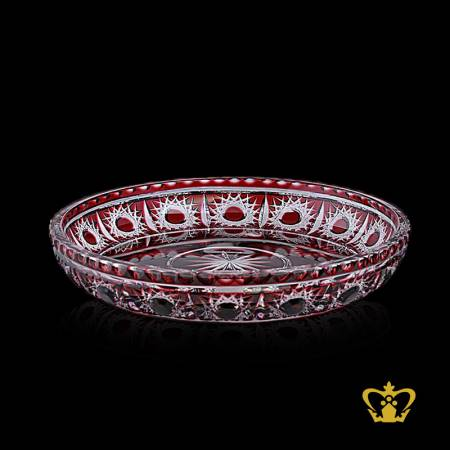 Ornamental-red-decorative-crystal-centerplate-with-unique-handcrafted-traditional-pattern