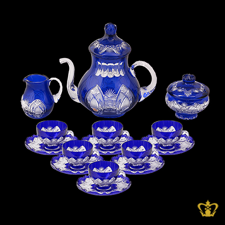 Cobalt-blue-crystal-tea-set-of-6-cups-and-saucer-embellished-with-intense-hand-carved-vintage-pattern