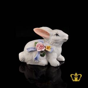 Artistry-Ceramic-Figurine-of-a-Rabbit-sided-with-Intricate-Detailing-of-Colorful-Flowers