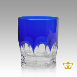 Cobalt-blue-crystal-tumbler-adorned-with-timeless-precious-clear-deep-wide-curved-facets-pattern-10-oz