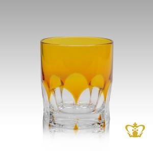 Amber-crystal-tumbler-adorned-with-timeless-precious-clear-deep-wide-curved-facets-pattern-10-oz