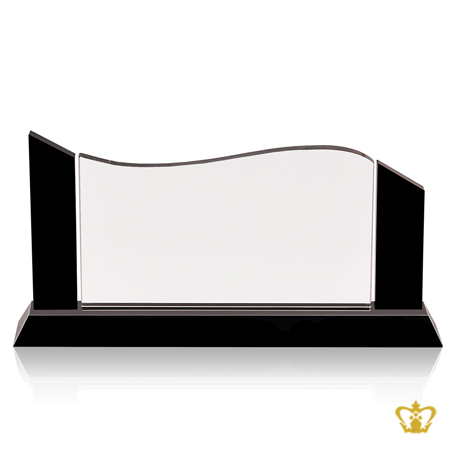 Wave-Crystal-Horizontal-Black-Pillar-Trophy-with-Black-Base-Engrave-Text-Logo