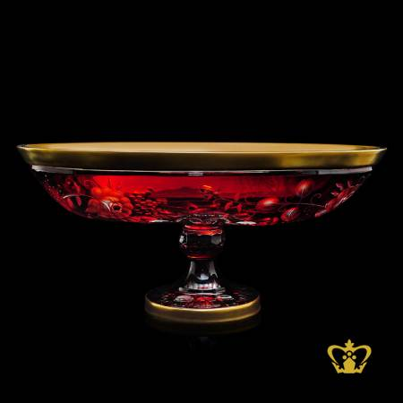 Beautiful-magnificent-striking-red-footed-oval-crystal-bowl-adorned-with-golden-rim-and-frosted-floral-pattern