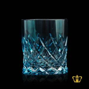 Voguish-cyan-blue-crystal-whisky-glass-tumbler-adorned-with-alluring-hand-cut-diamond-pattern-rising-from-bottom-10-oz