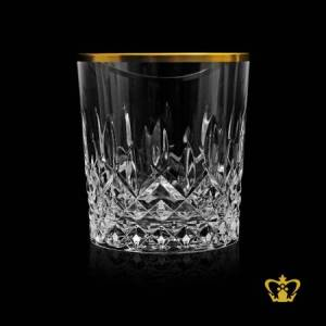 Sophisticated-crystal-whiskey-tumbler-traditional-look-with-diamond-cuts-rising-from-bottom-with-leaf-cuts-golden-rim-glass-10-oz