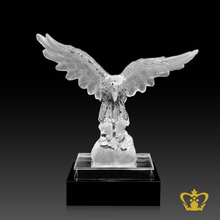 Crystal-falcon-replica-stands-on-a-black-and-clear-crystal-base-custom-text-logo-engraving