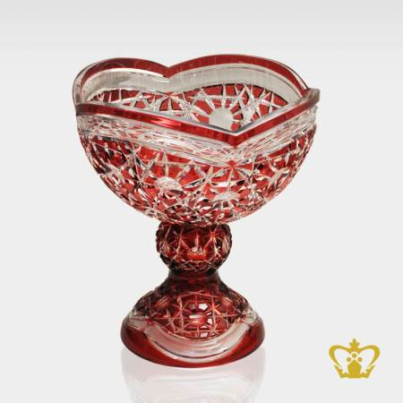 Enticing-red-ruby-footed-crystal-bowl-with-intense-luminous-charming-pattern-hand-carved
