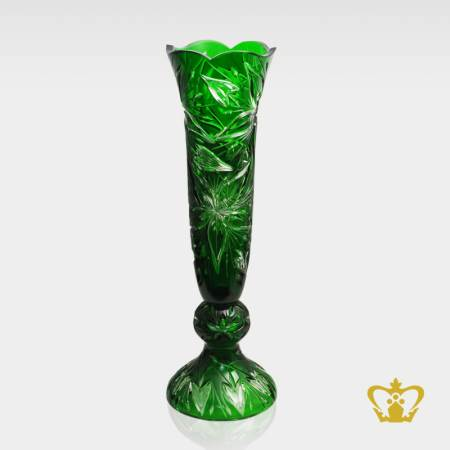 Enchanting-splendid-green-long-footed-crystal-vase-adorned-with-handcrafted-floral-pattern